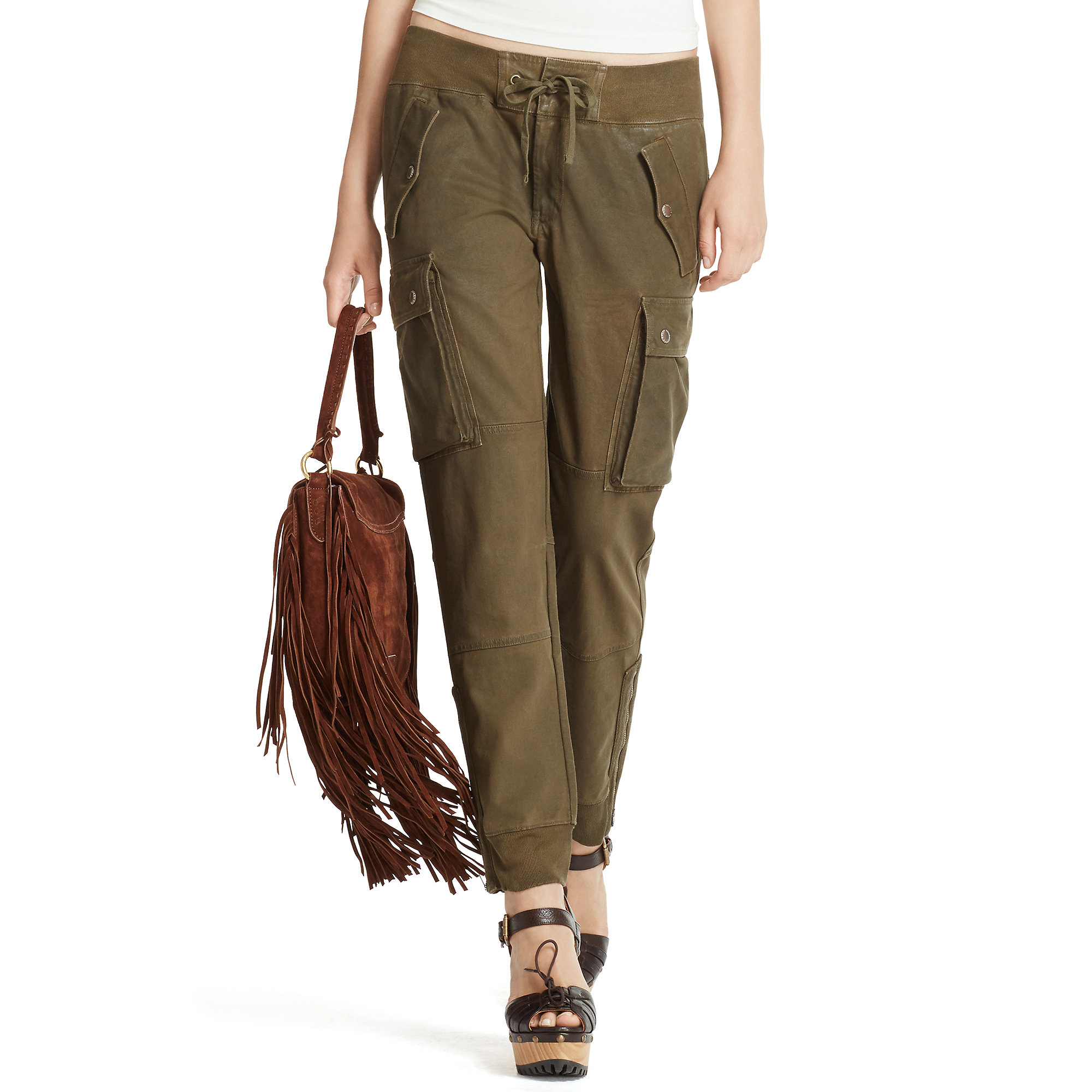 Unique Lauren By Ralph Lauren Skinny Cotton Twill Cargo Pants In Black  Lyst