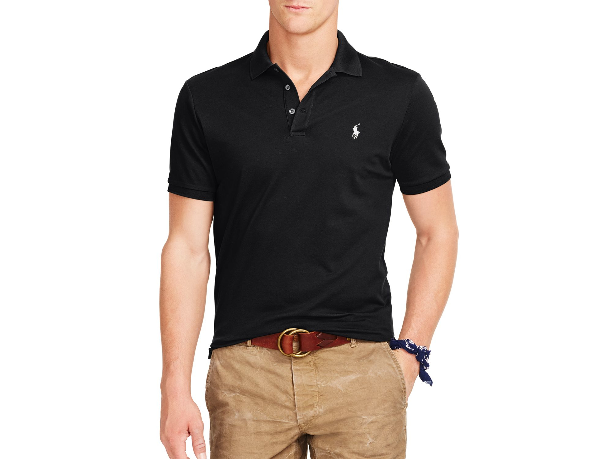 ebb09a01a8b5 Lyst - Ralph Lauren Polo Stretch-mesh Slim Fit Polo Shirt in Black ...