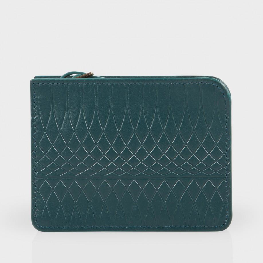 Paul Smith No 9 Petrol Leather Wallet Pouch In Blue For
