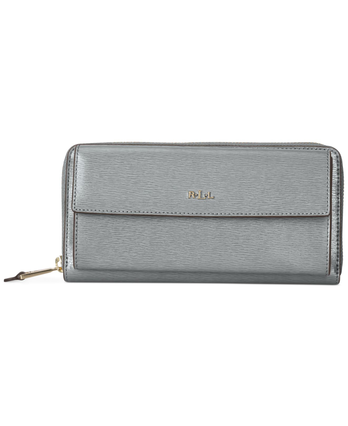 Lyst - Lauren by Ralph Lauren Tate Pocket Zip Wallet in Gray 6208a8f3fc