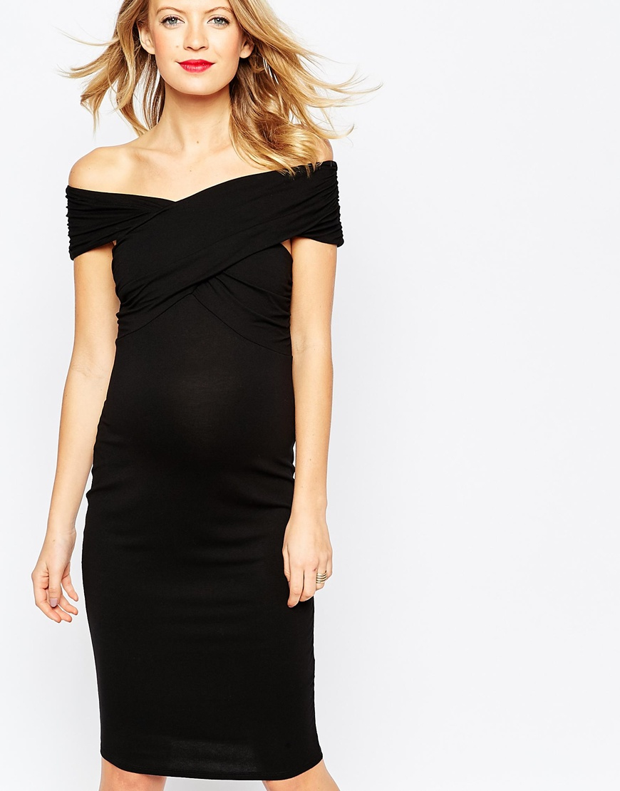 0883f64f18 ASOS Midi Bodycon Dress With Twist Off Shoulder in Black - Lyst