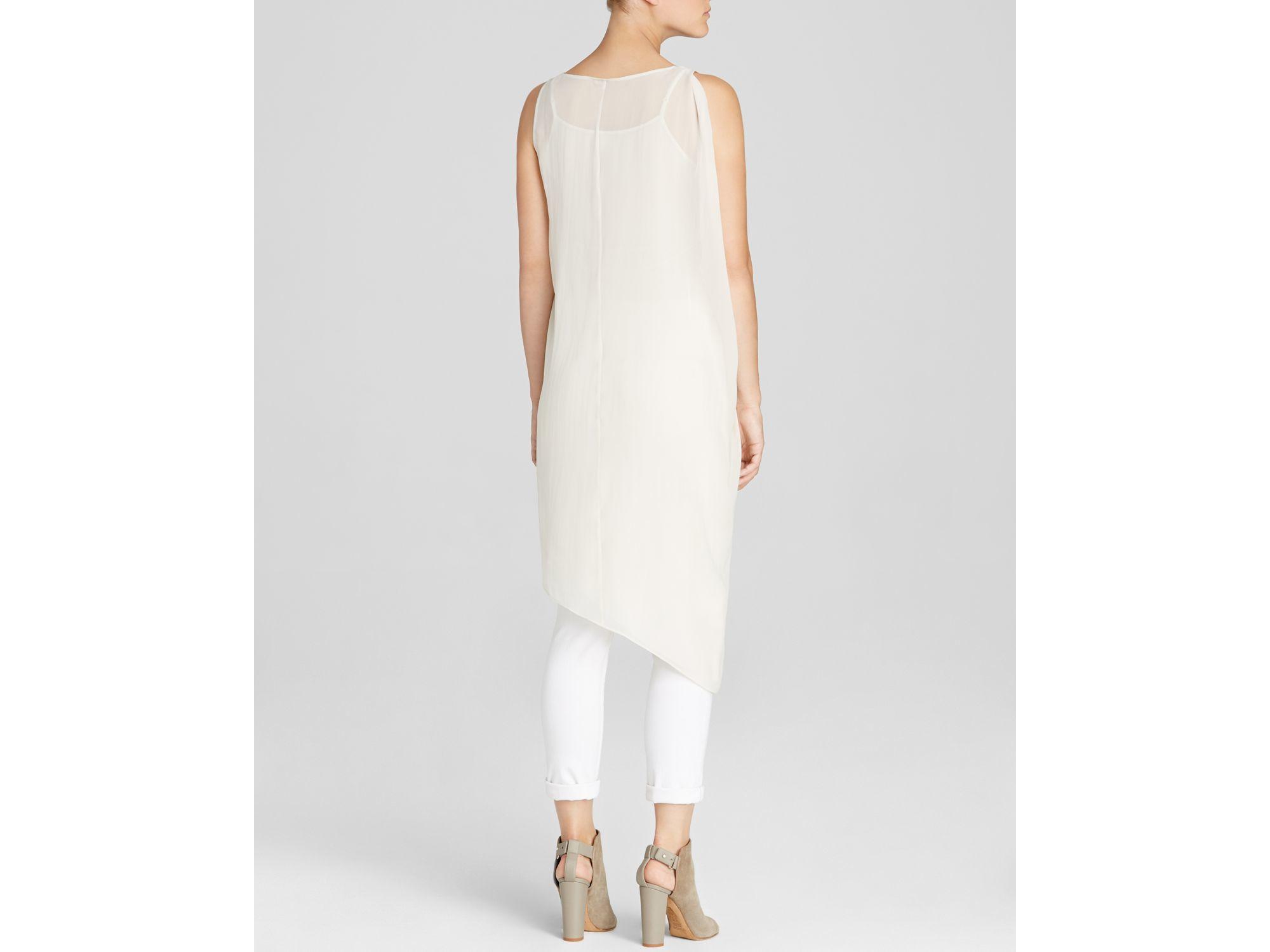 1702b85a9b9038 Lyst - Eileen Fisher Asymmetric Silk Tank Dress in White