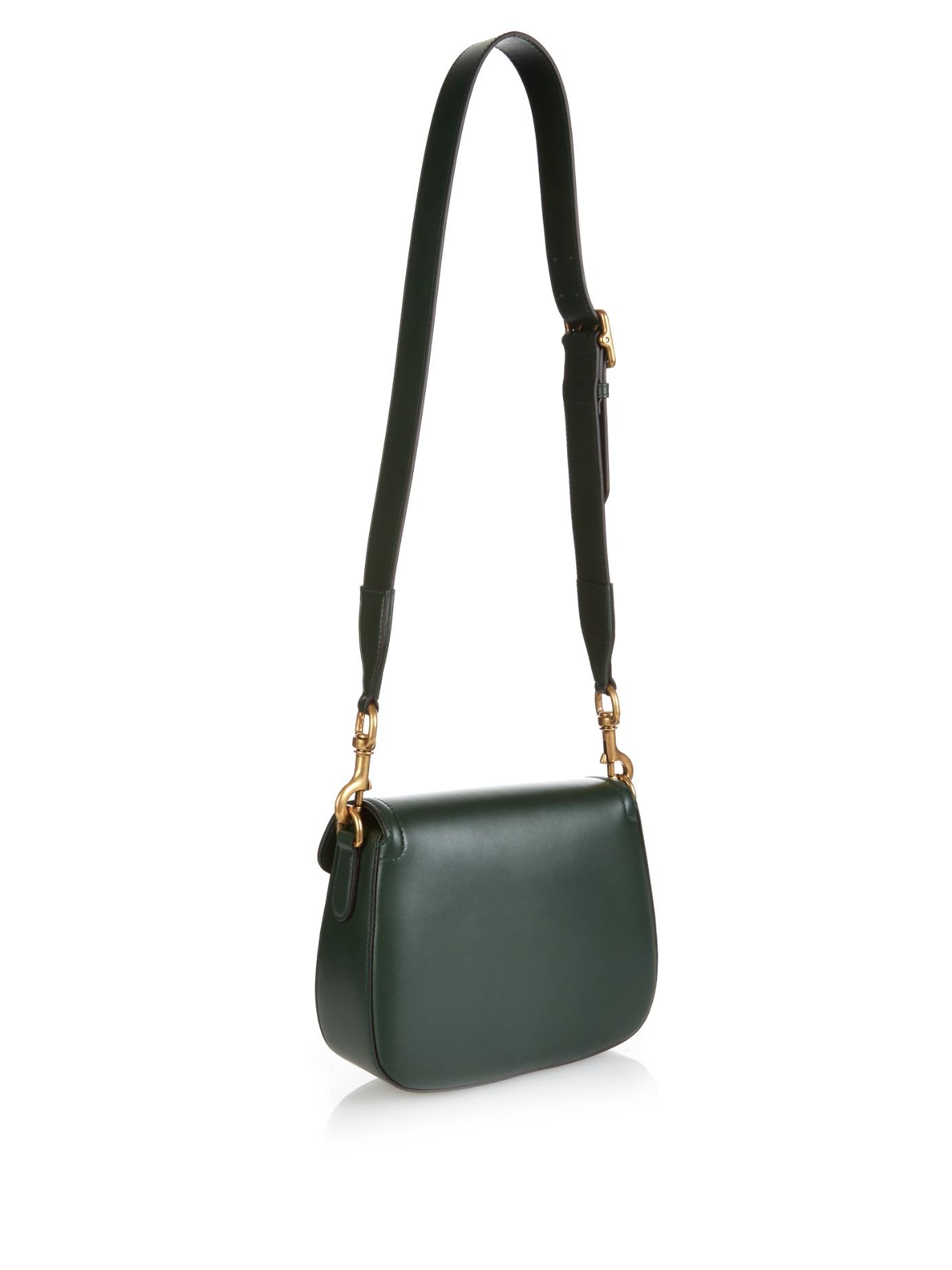 9a60fdab261 Lyst - Gucci Lady Web Medium Leather Cross-body Bag in Green