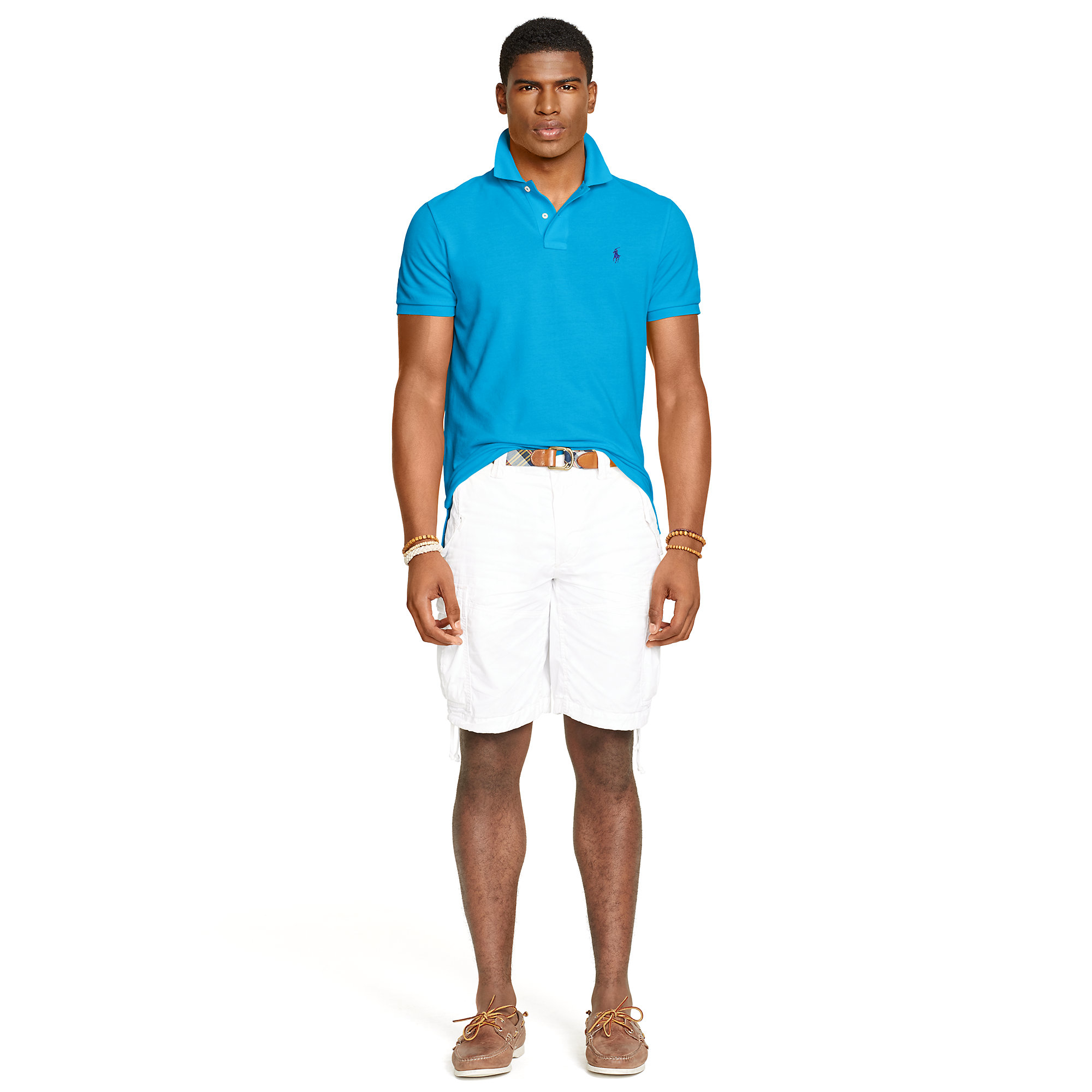 Polo ralph lauren Custom-fit Mesh Polo Shirt in Blue for Men (cove blue) | Lyst