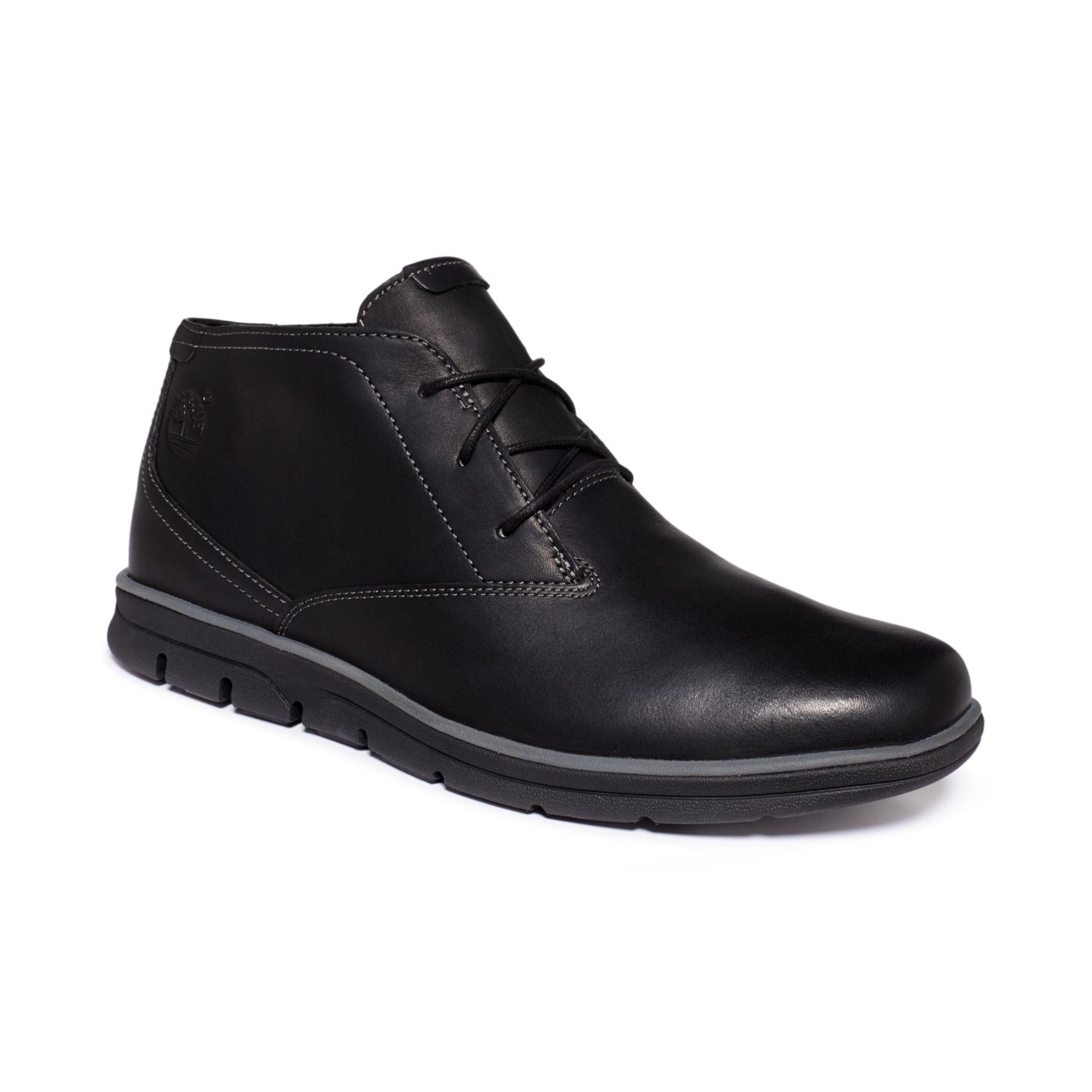 timberland bradstreet plain toe chukka boots in black for