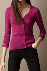 Burberry Open Stitch Cashmere Cotton Cardigan - Lyst