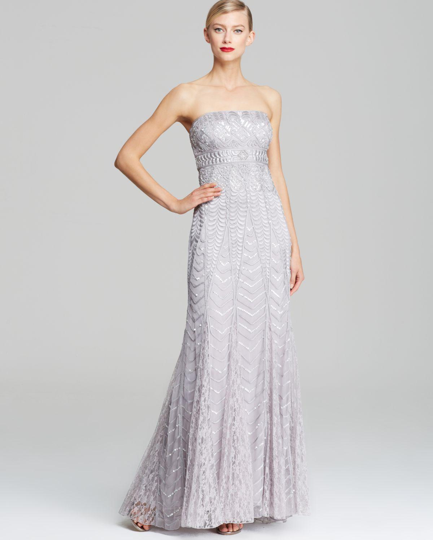 Lyst - Sue Wong Strapless Sequin Gown in Metallic