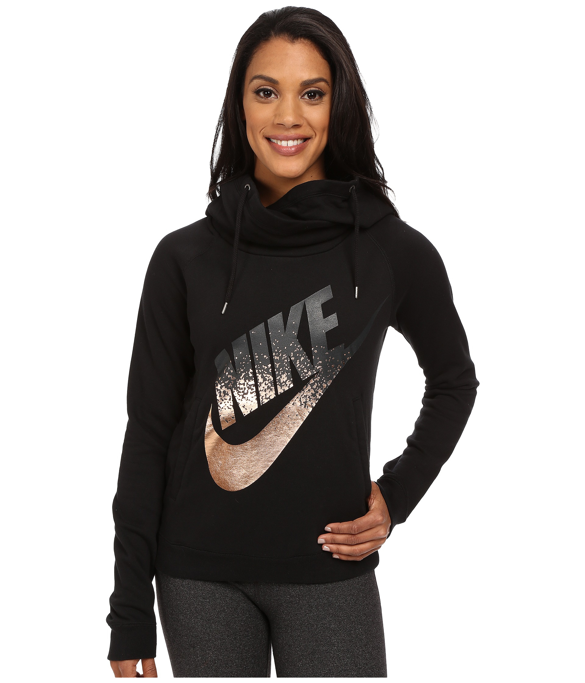 433d959a Nike Rally Funnel Neck Metal in Black - Lyst
