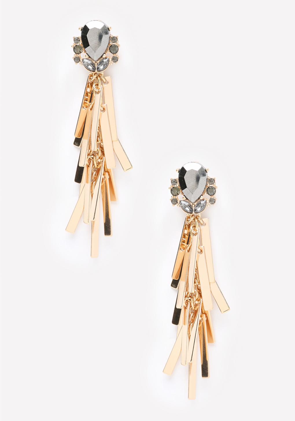 Lyst - Bebe Metal Bar Tassel Earrings in Metallic