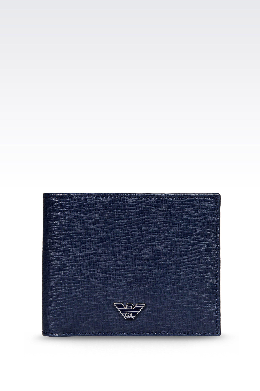 67555cdf13 Emporio Armani Bifold Wallet in Saffiano Calfskin in Blue for Men - Lyst
