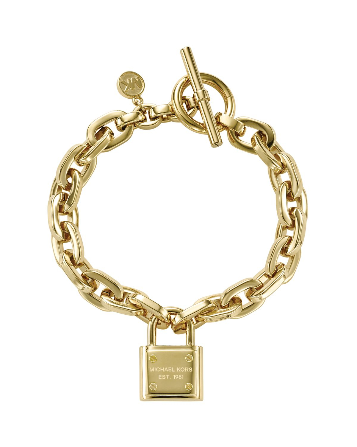 michael kors chain link padlock toggle bracelet in gold lyst. Black Bedroom Furniture Sets. Home Design Ideas