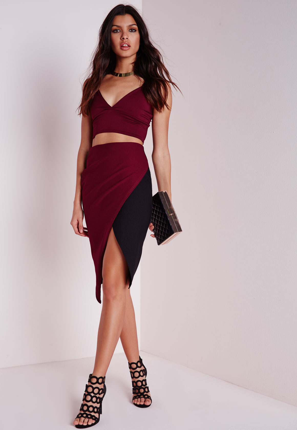 Missguided Contrast Wrap Midi Skirt Burgundy/black in Red | Lyst