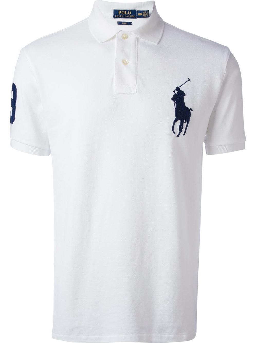 Polo ralph lauren oversized logo slim fit polo shirt in for Ralph lauren logo shirt