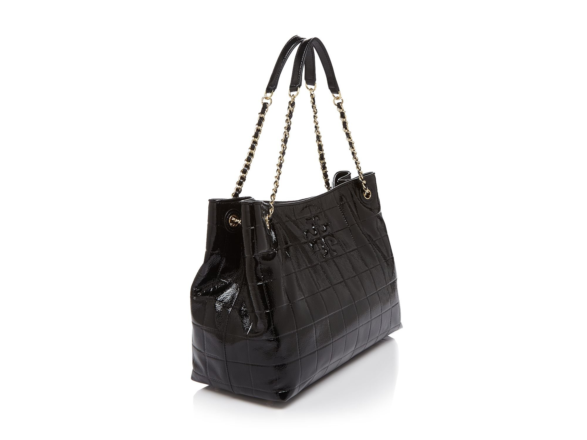 f09e37b8508 Lyst - Tory Burch Marion Quilted Patent Slouchy Tote in Black