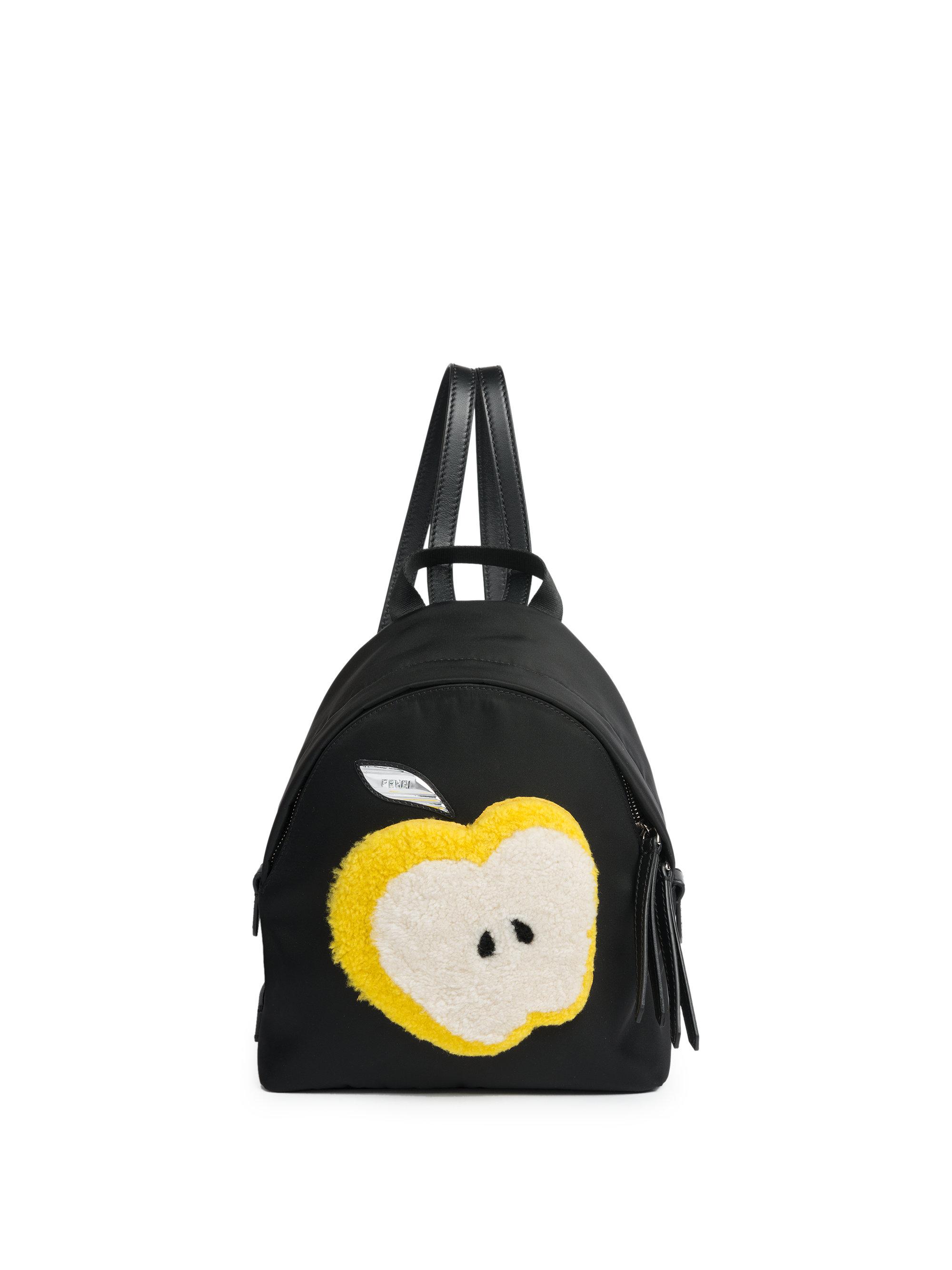 f072fa8ad572 Lyst - Fendi Apple Mini Shearling   Nylon Backpack in Black