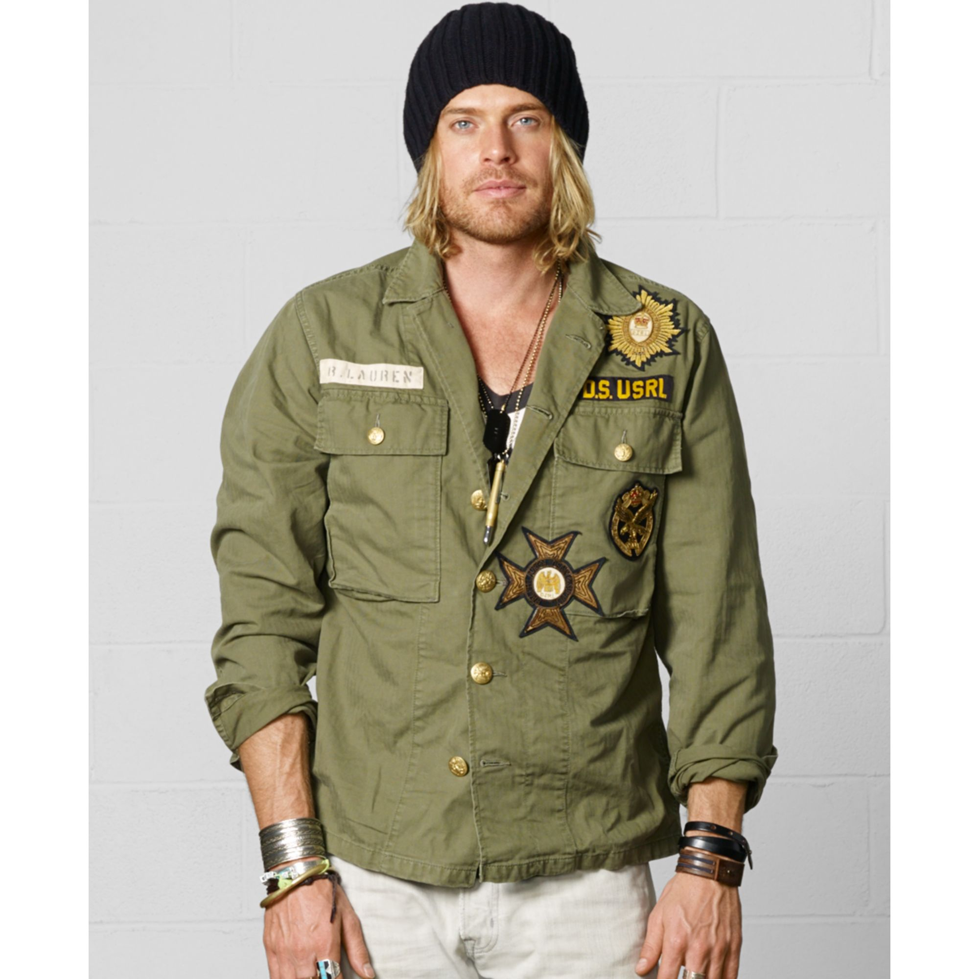 This military shirt jacket is loose fit and on trend! It features turn down collar, one button cuff and flap pocket along bust, and two side pockets. Slightly slit hem to each side. Embroidered beaded accents on the sleeves with allover raw trim. | eBay!