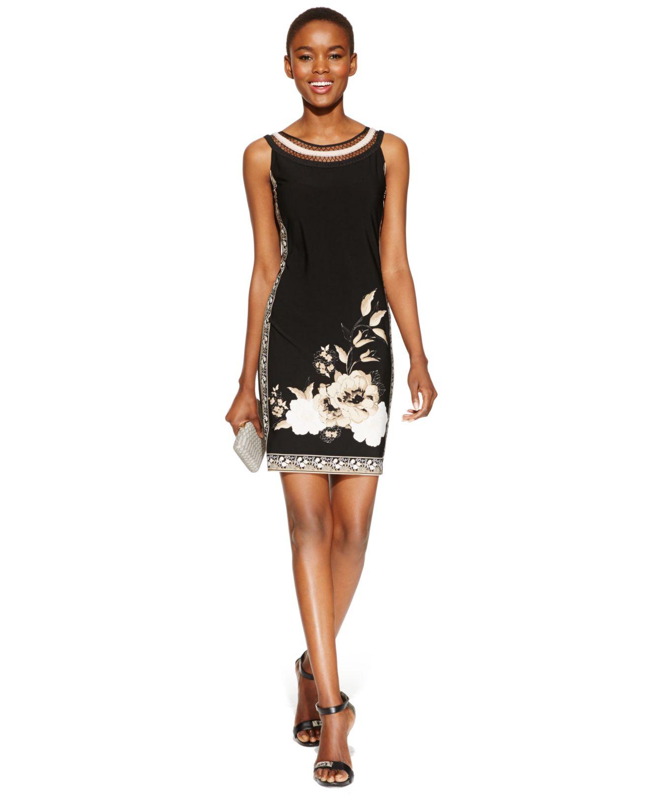 97413a7c4f Lyst - Sandra Darren Sleeveless Floral-Print Shift Dress