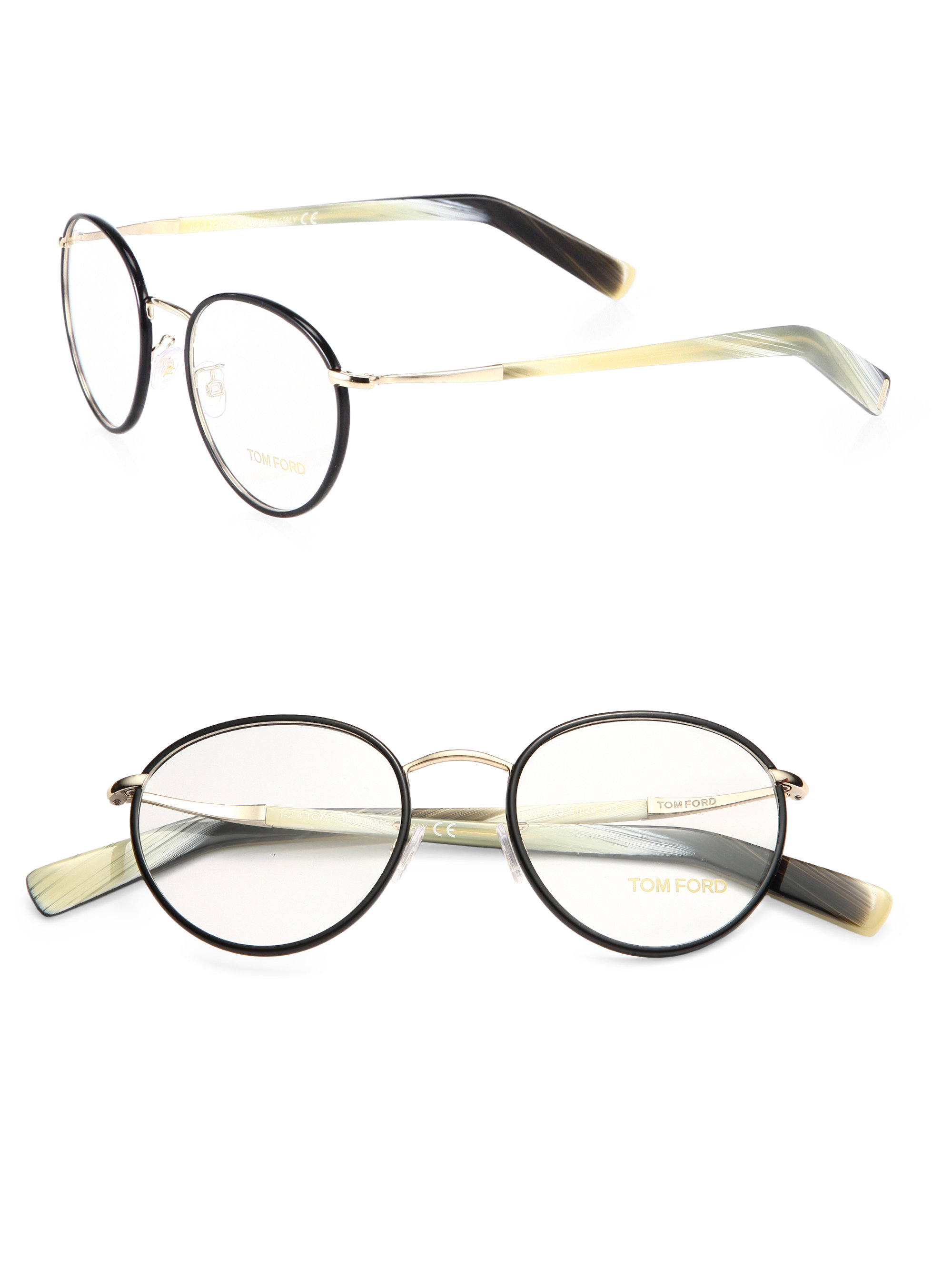 54361e25db4d Lyst - Tom Ford Round Optical Frames in Black for Men