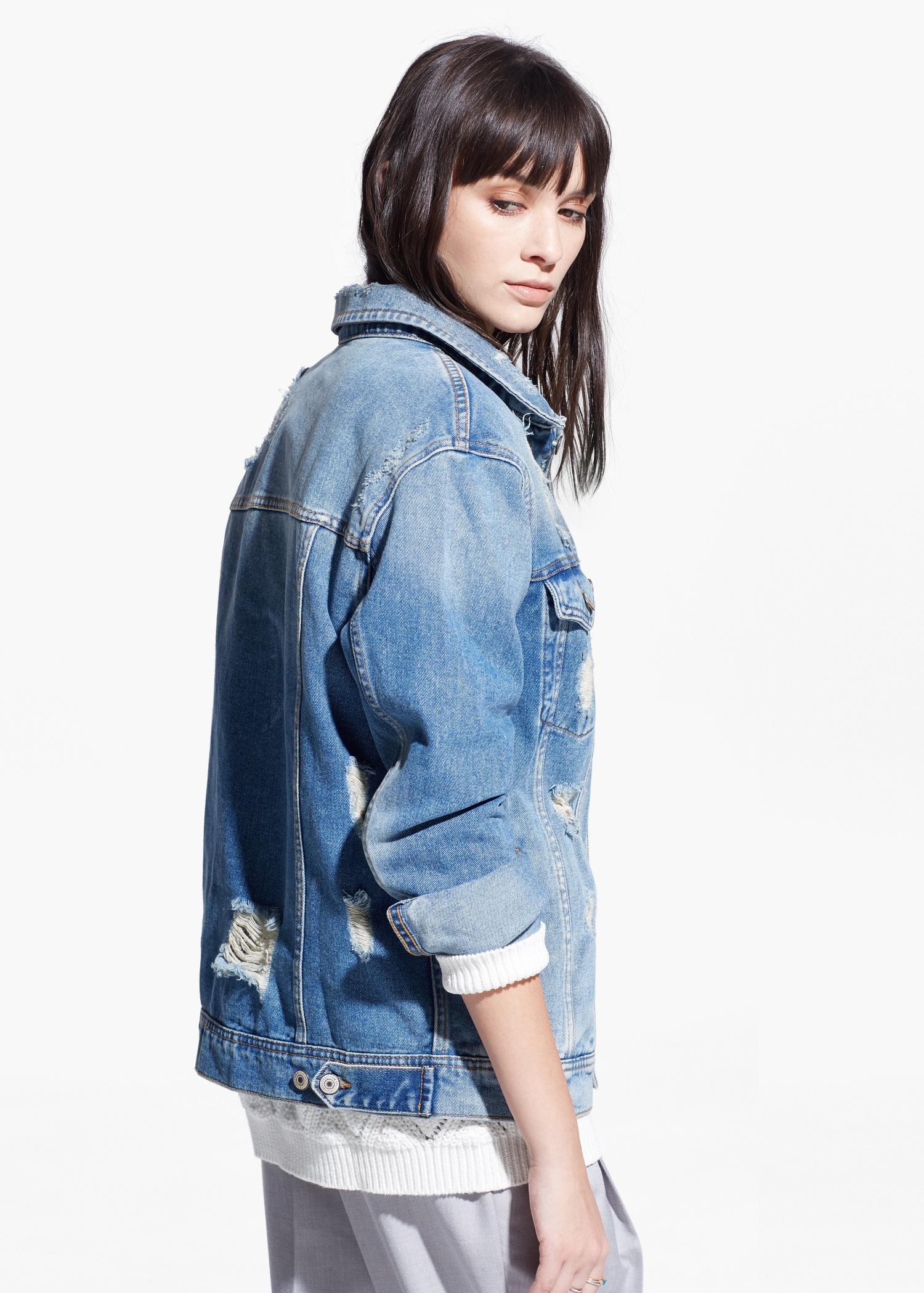 Lyst - Mango Medium Denim Jacket in Blue