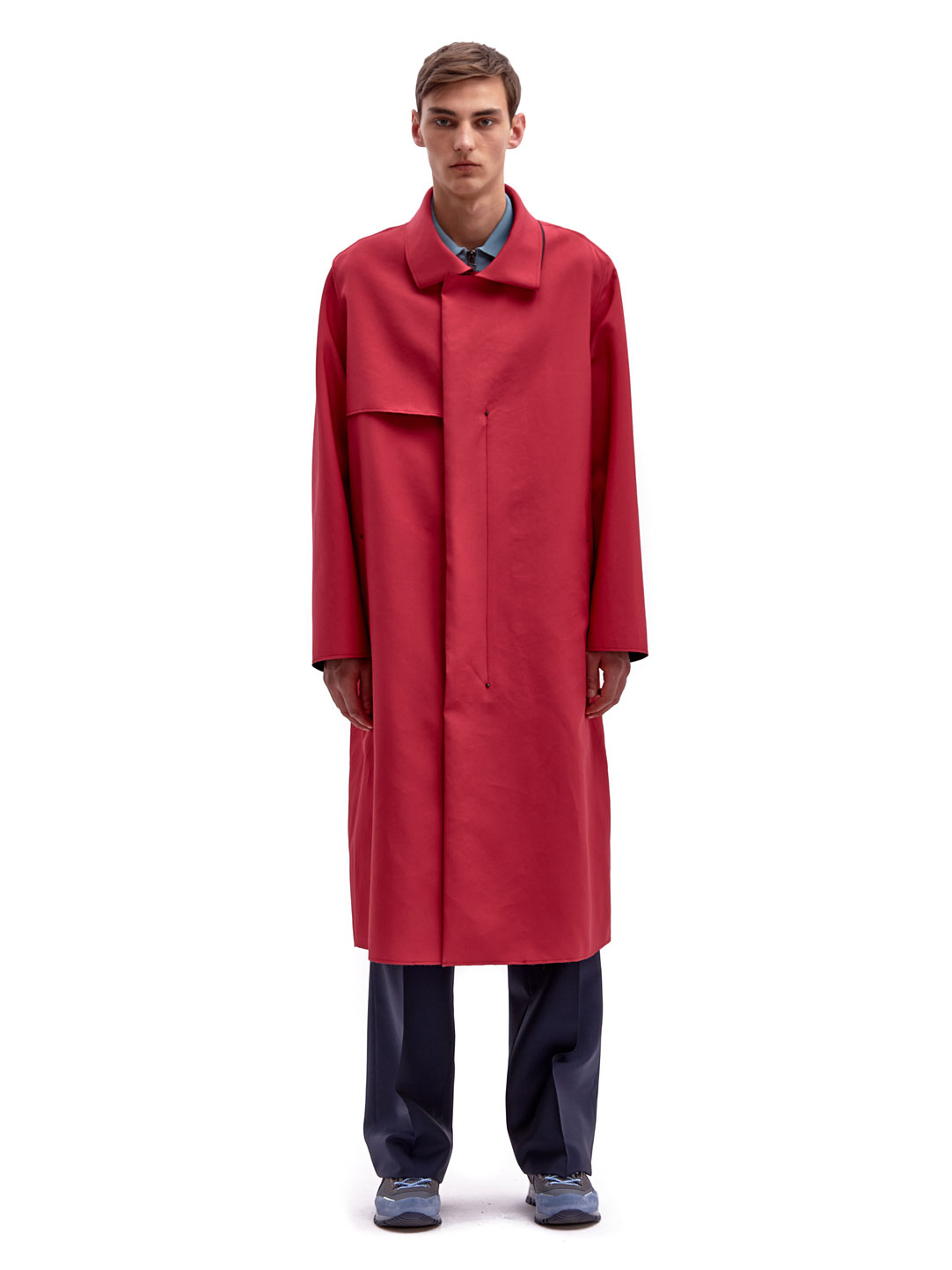 Lanvin Mens Oversized Coat in Red for Men | Lyst