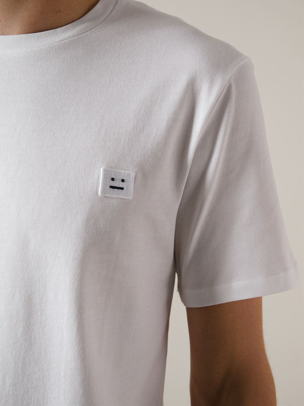 Lyst - Acne studios 'Measure-Face Badge' T-Shirt in White ...