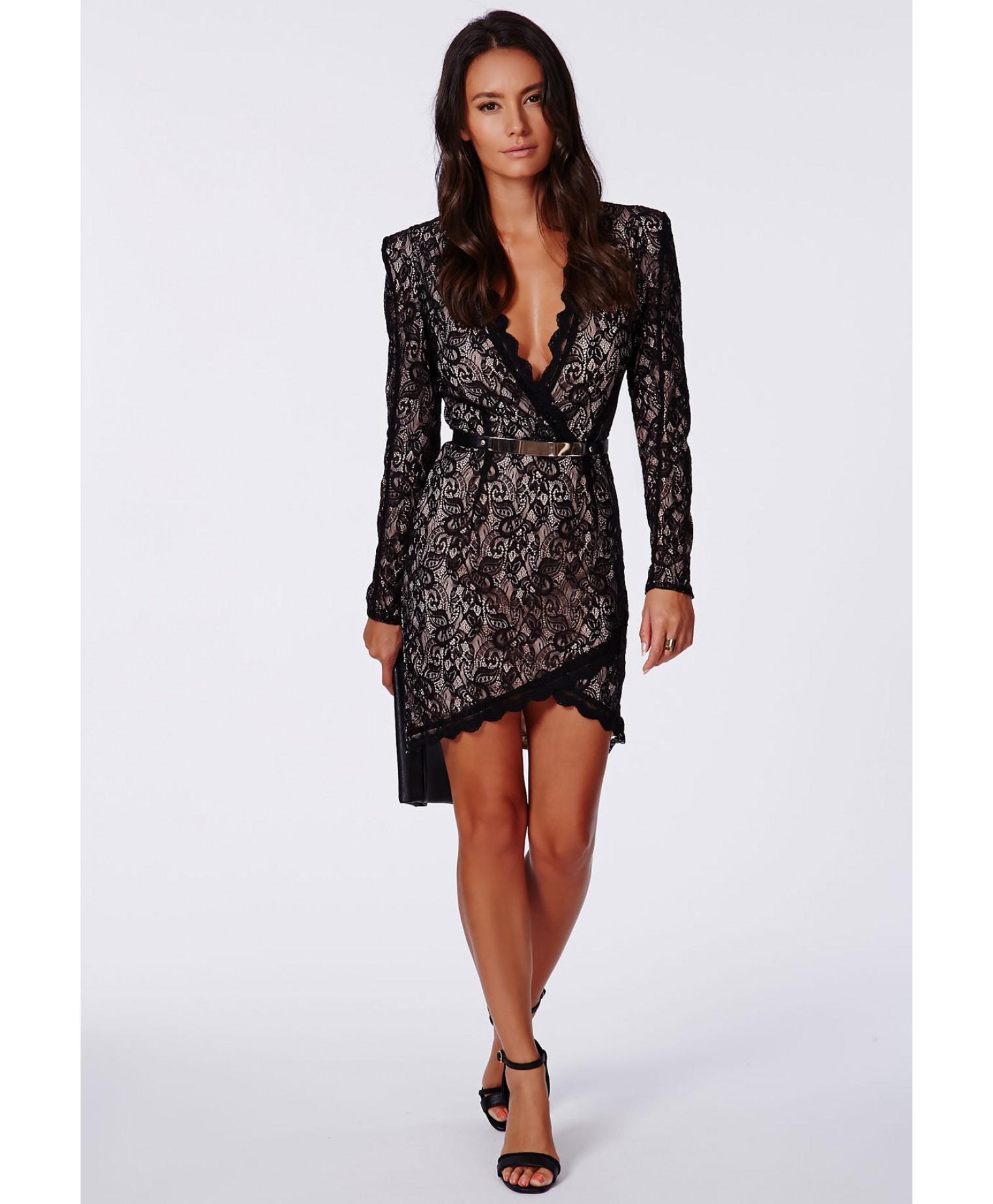 Missguided Nikhila Eyelash Lace Wrap Over Mini Dress In