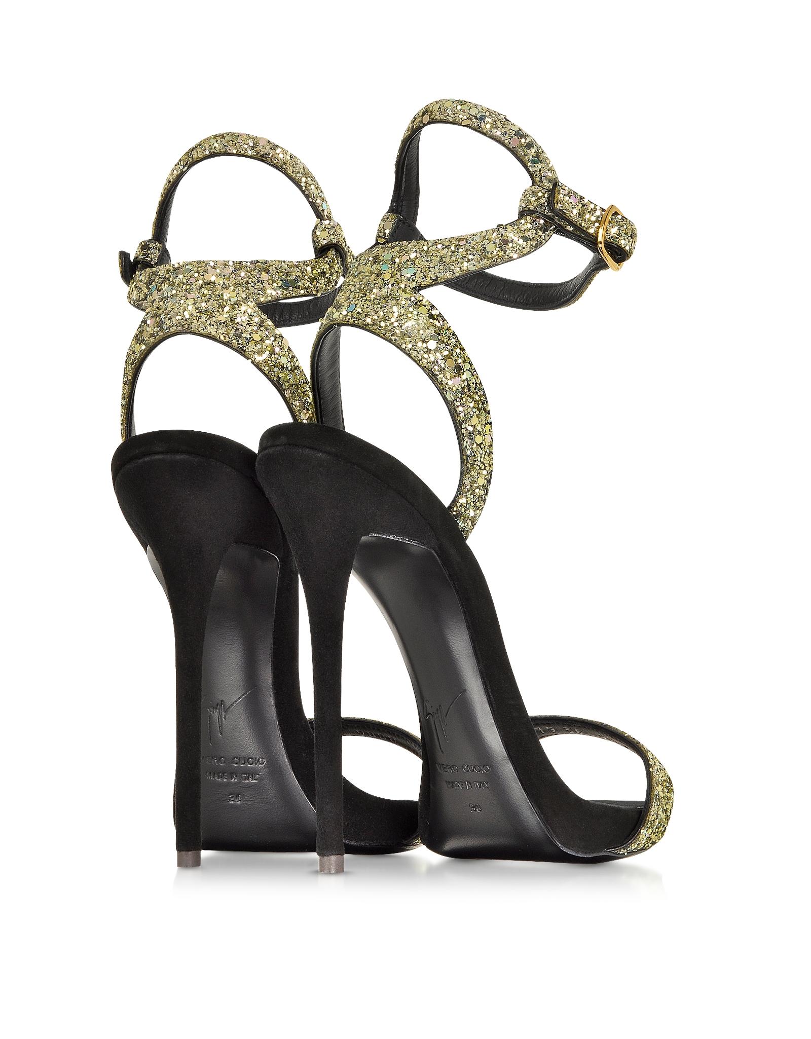 86e7c04619d77 Giuseppe Zanotti Gold Glitter Ankle Strap Sandal in Black - Lyst
