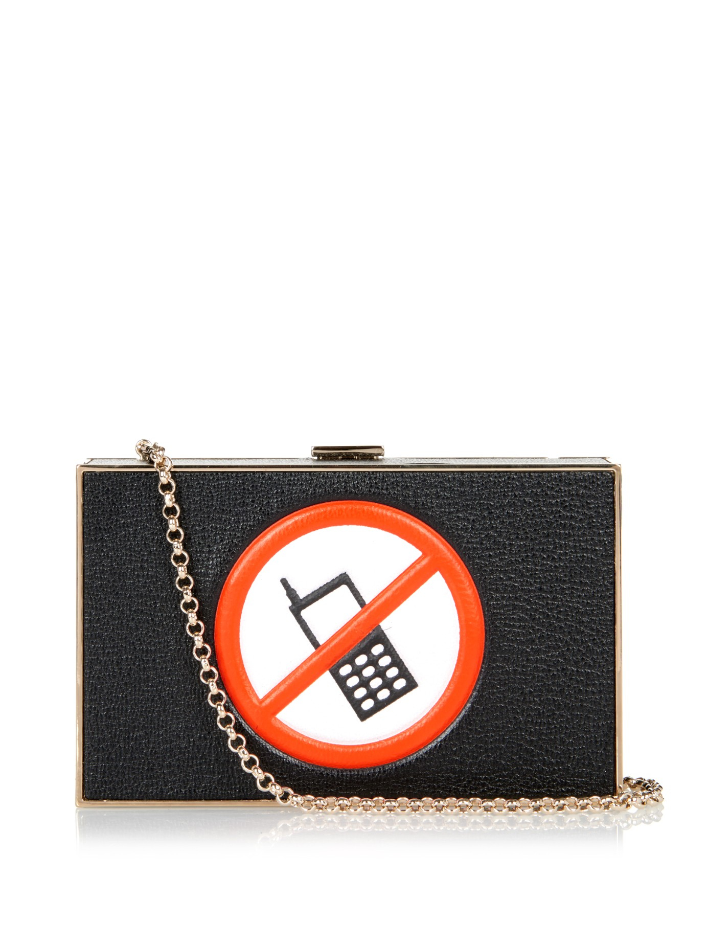 Anya Hindmarch No Mobile Phone Imperial Leather Clutch in Black - Lyst afa1a8467728