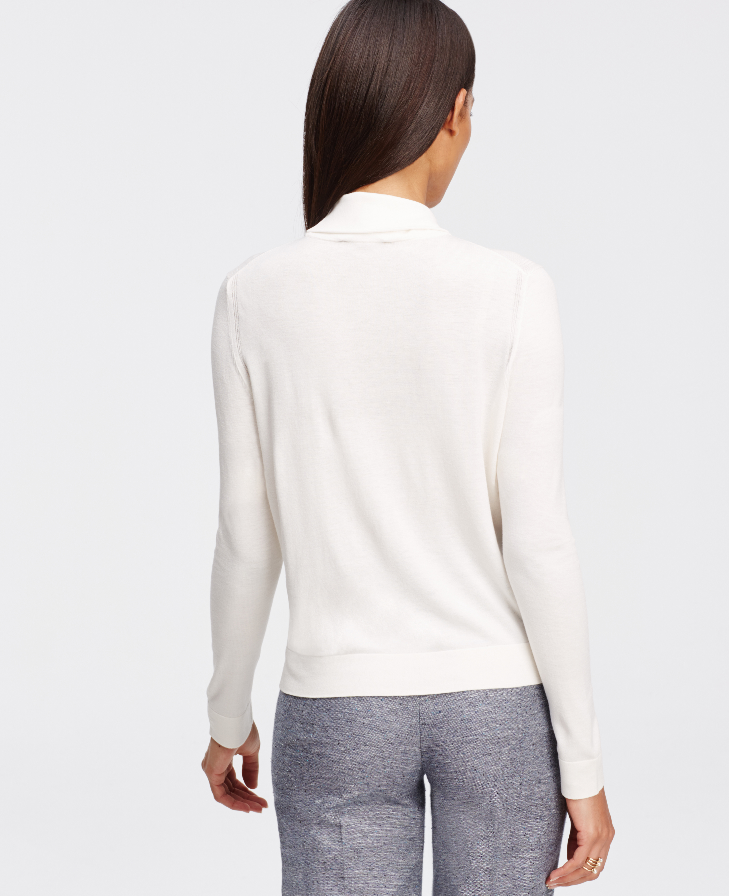 Ann taylor Cropped Turtleneck Sweater in White | Lyst