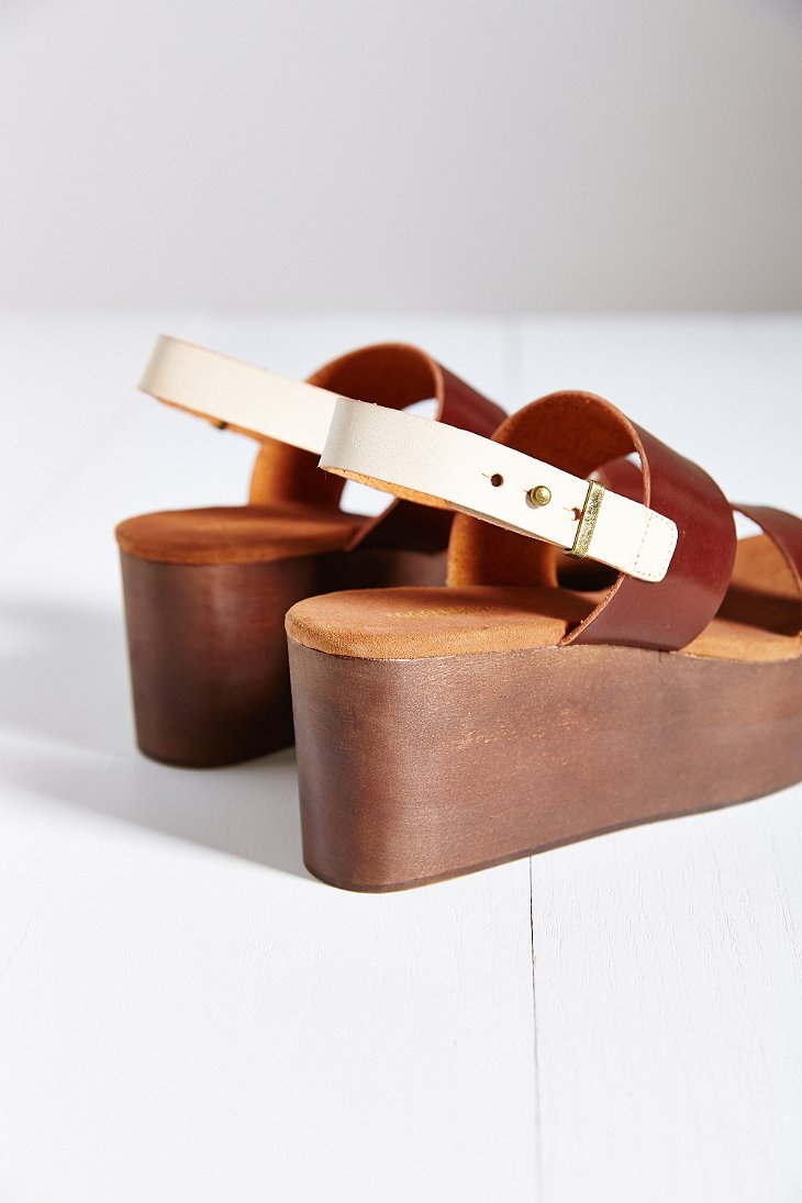757bee833e3 Lyst - Cooperative Piper Wood-bottom Platform Sandal in Brown