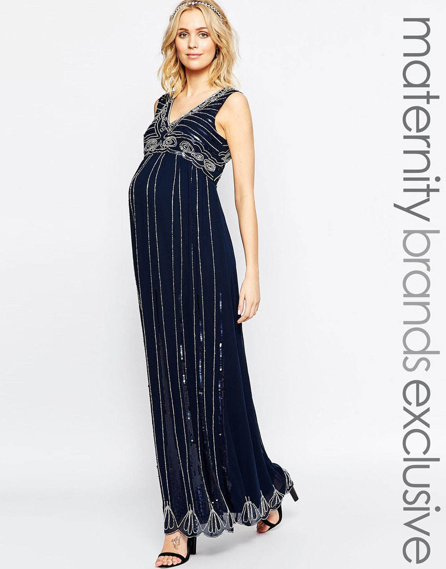Lyst maya maternity vintage embellished maxi dress in blue gallery ombrellifo Choice Image