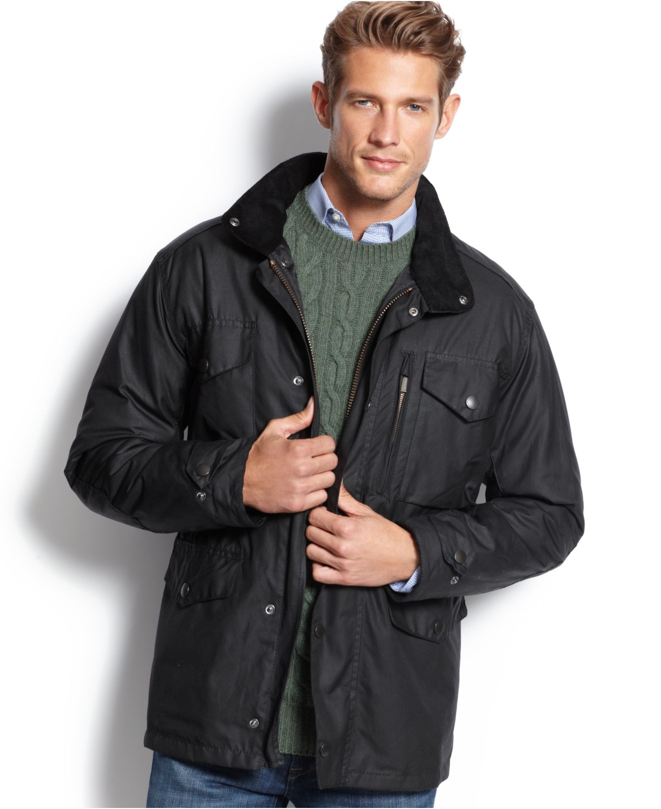 Barbour Sapper Waxed Jacket In Black For Men Lyst
