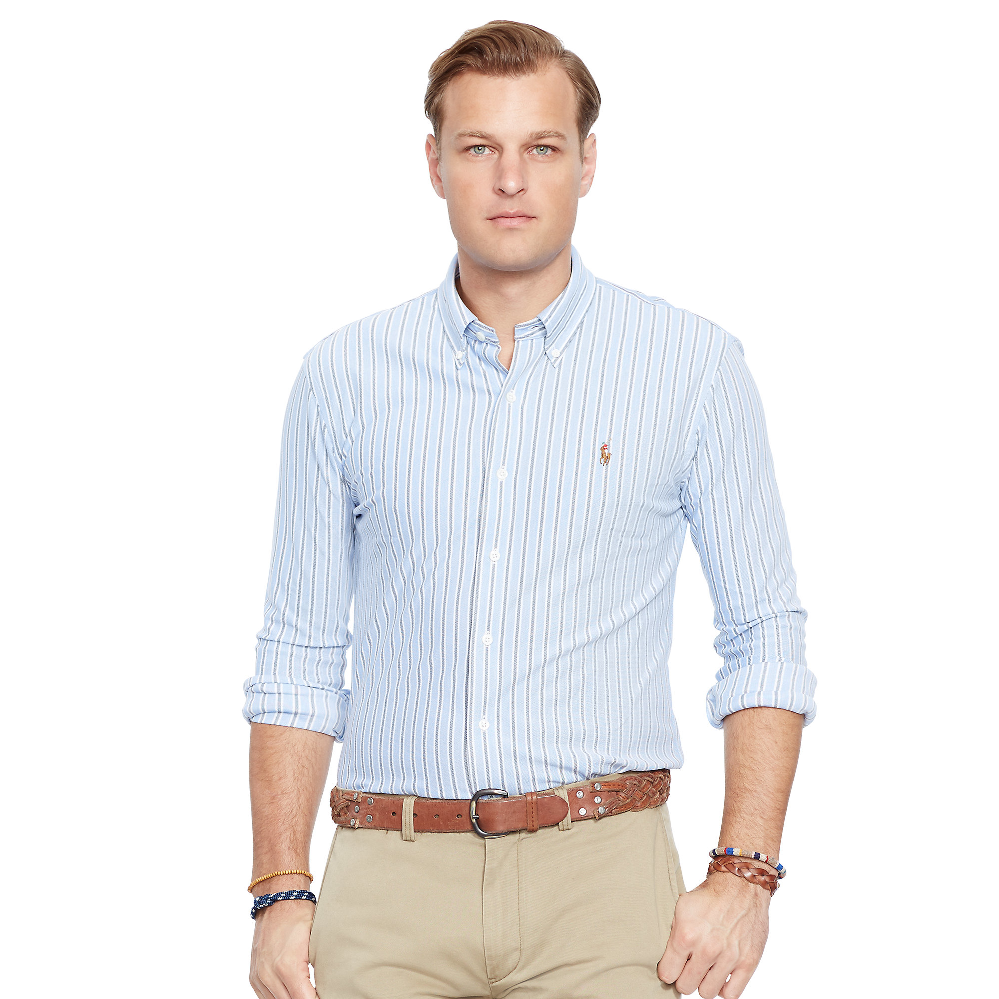 Lyst - Pink Pony Striped Knit Oxford Shirt in Blue for Men 0e22ec1a2