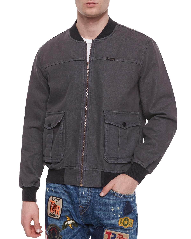 True religion Faded Bomber Jacket in Black for Men | Lyst