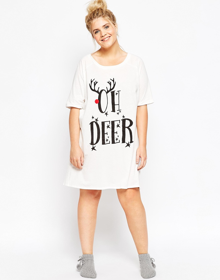 Lyst - ASOS Oh Deer Holidays Sleep Tee in Natural 26e0e3a77