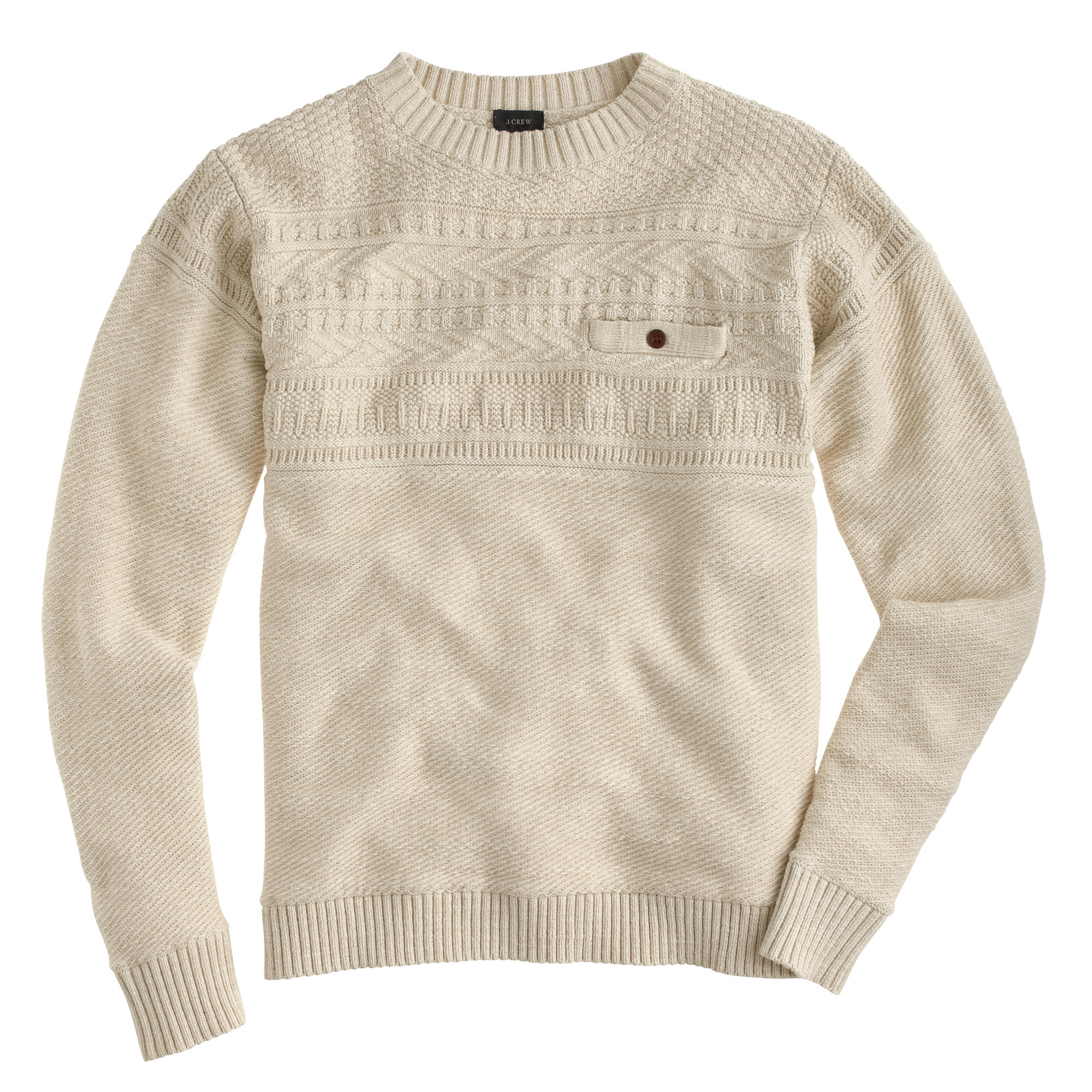 J.crew Rustic Cotton Fisherman Sweater in White for Men | Lyst