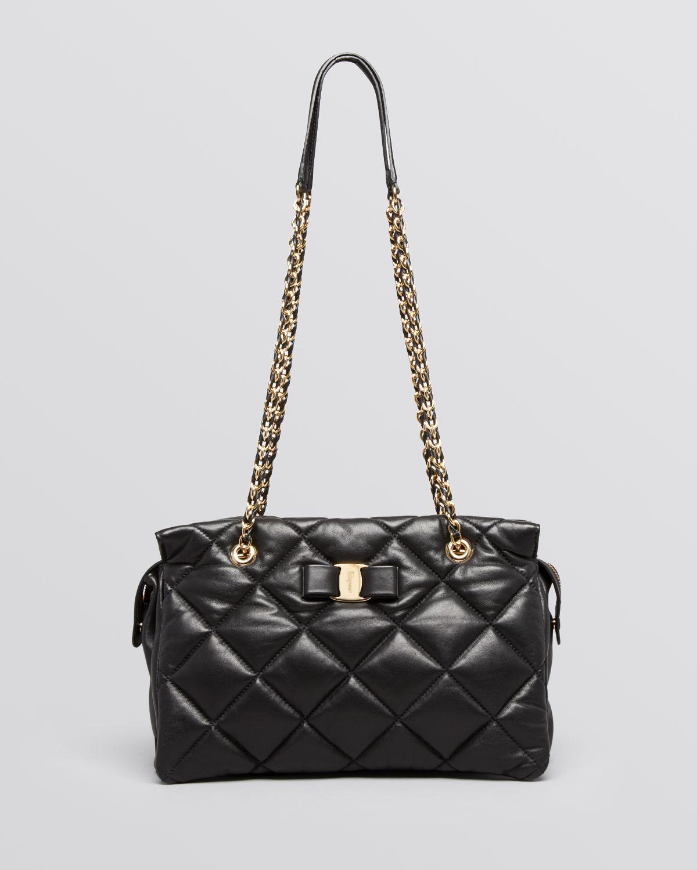 9614d510c0 Lyst - Ferragamo Shoulder Bag - Medium Ginette Quilted in Black