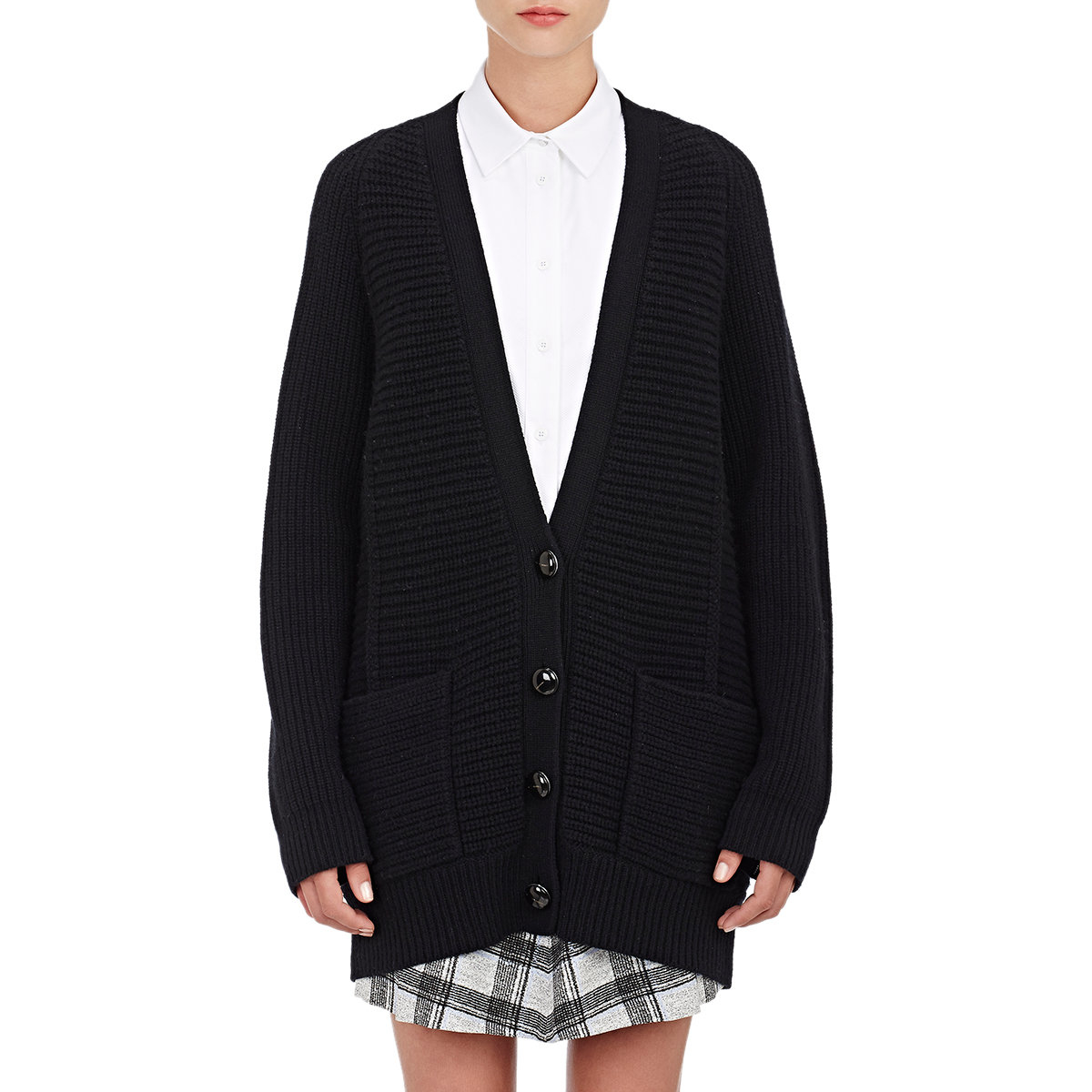 Proenza schouler Oversized Chunky-knit Cardigan in Black | Lyst