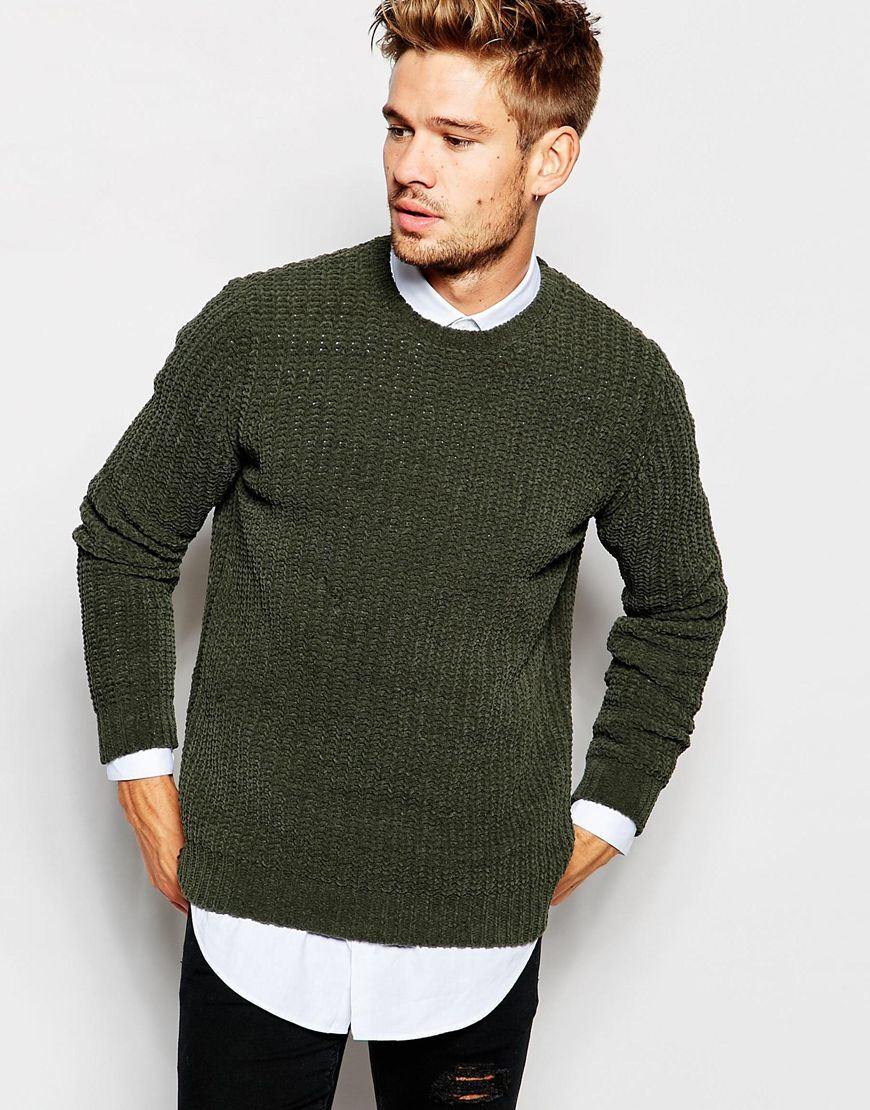 Asos Chenille Ribbed Jumper in Green for Men | Lyst