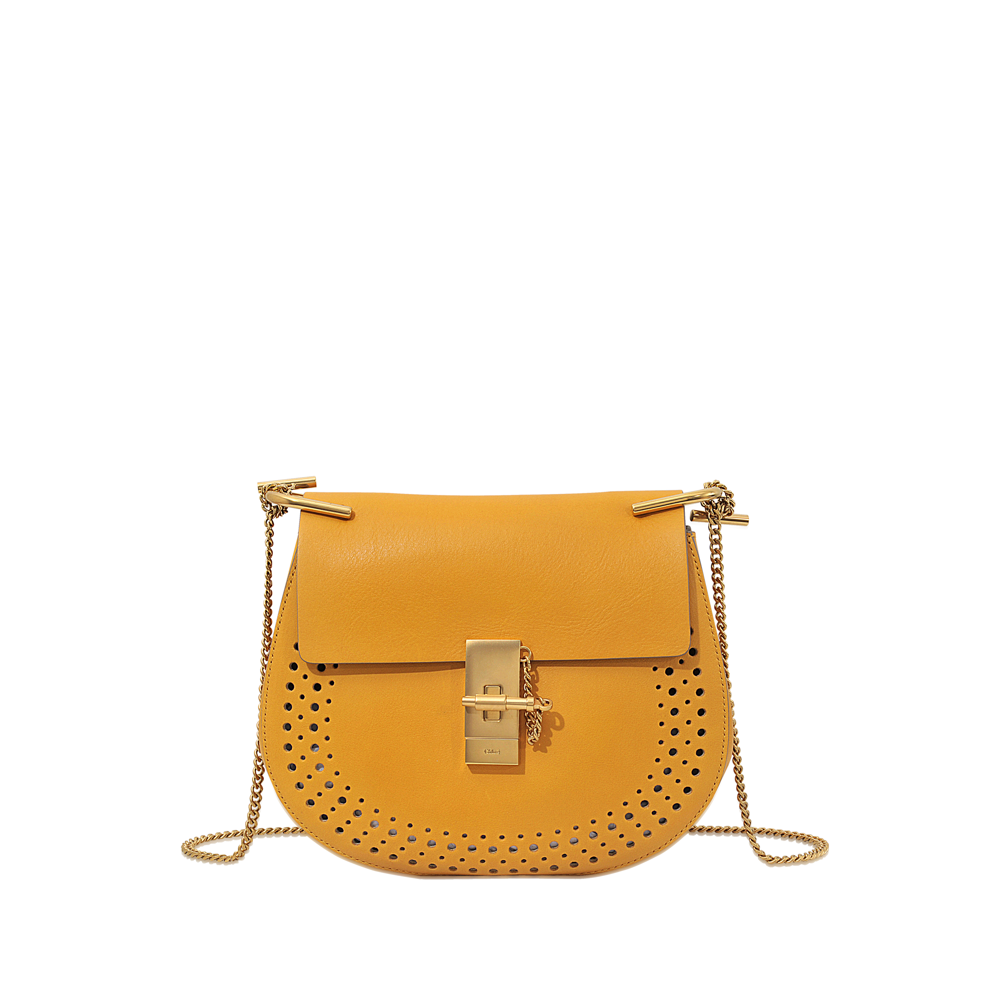 Chlo�� Drew Perforated Small Saddle Bag in Yellow | Lyst