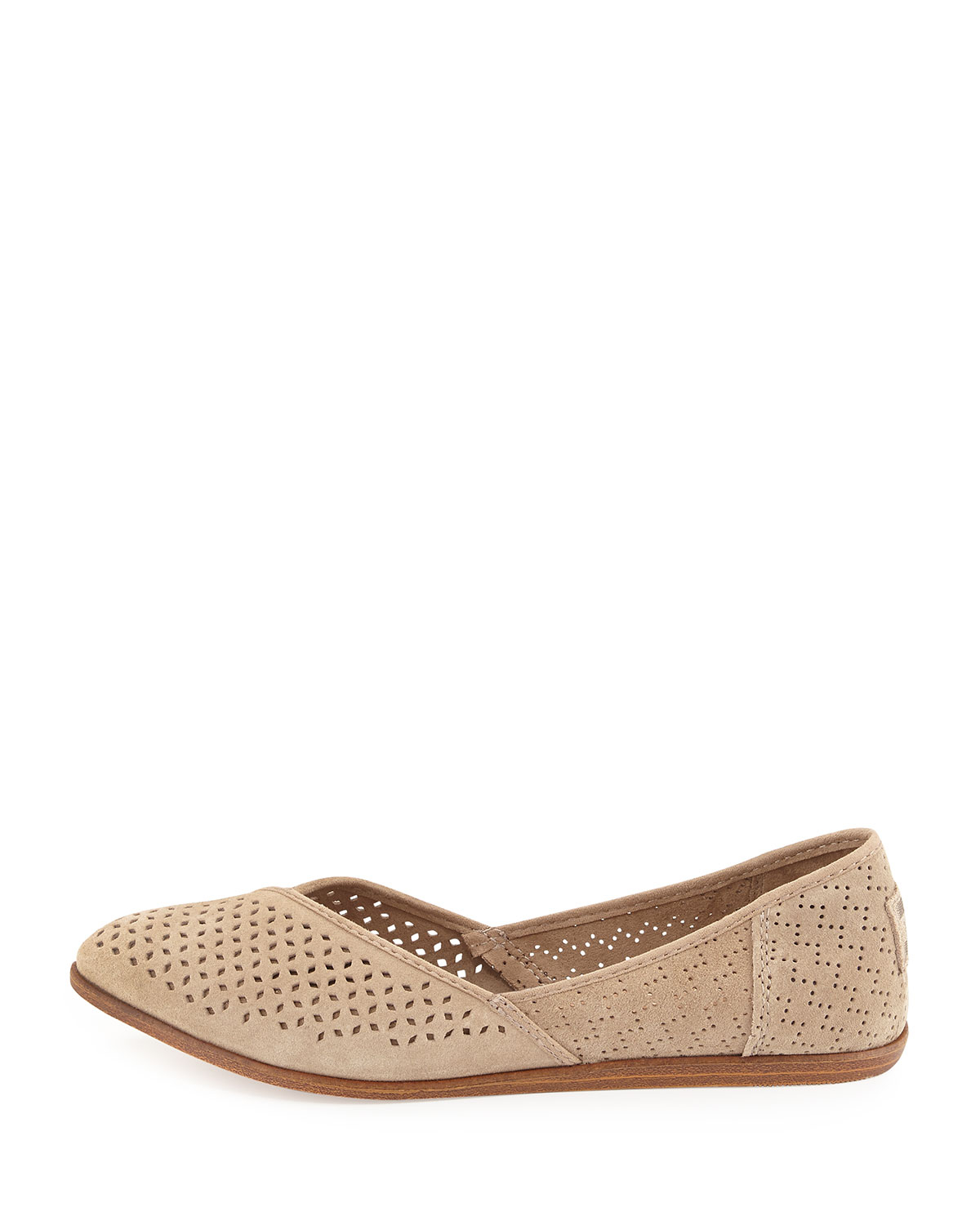 cfc97bee6 TOMS Jutti Perforated Suede Flats in Natural - Lyst