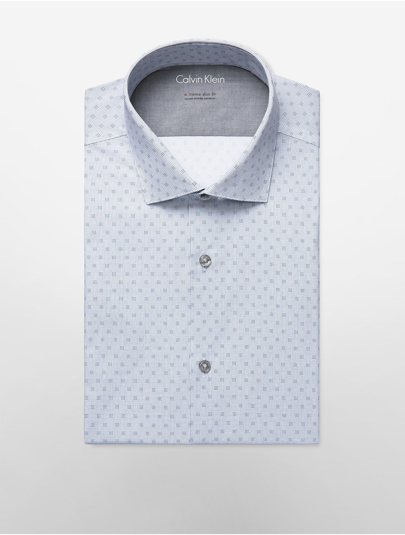Calvin klein white label x fit ultra slim fit blue dot for Calvin klein x fit dress shirt