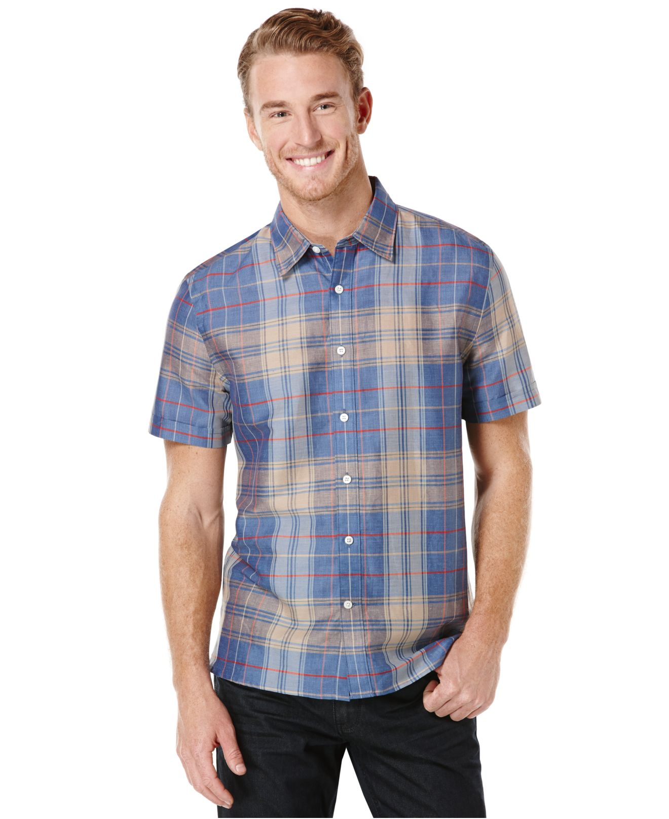 Perry Ellis Big And Tall Linen Blend Plaid Shirt In Blue