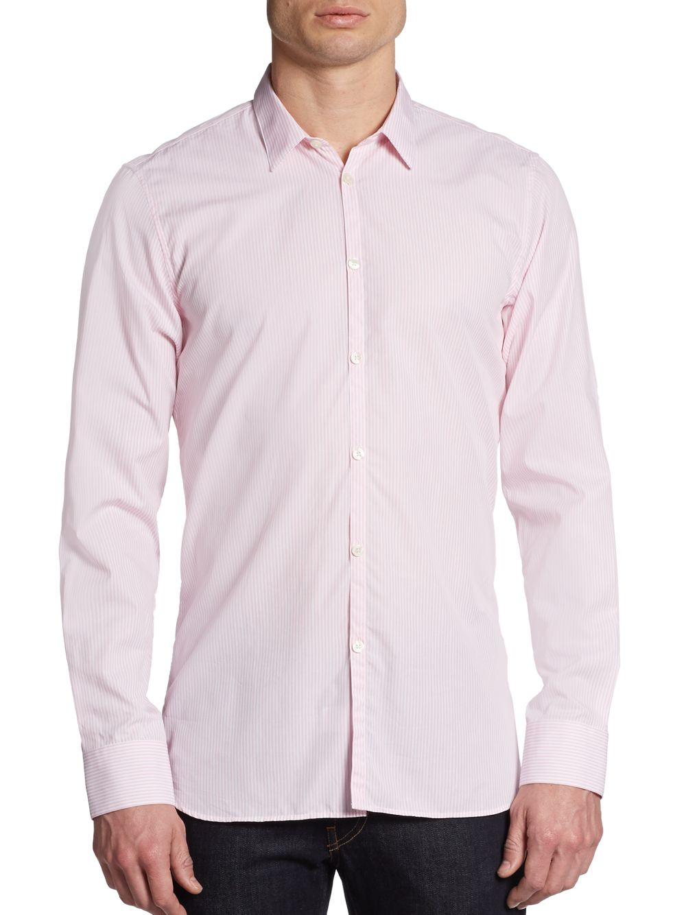 Lyst - Calvin klein Pastel Striped Dress Shirt in Pink for Men