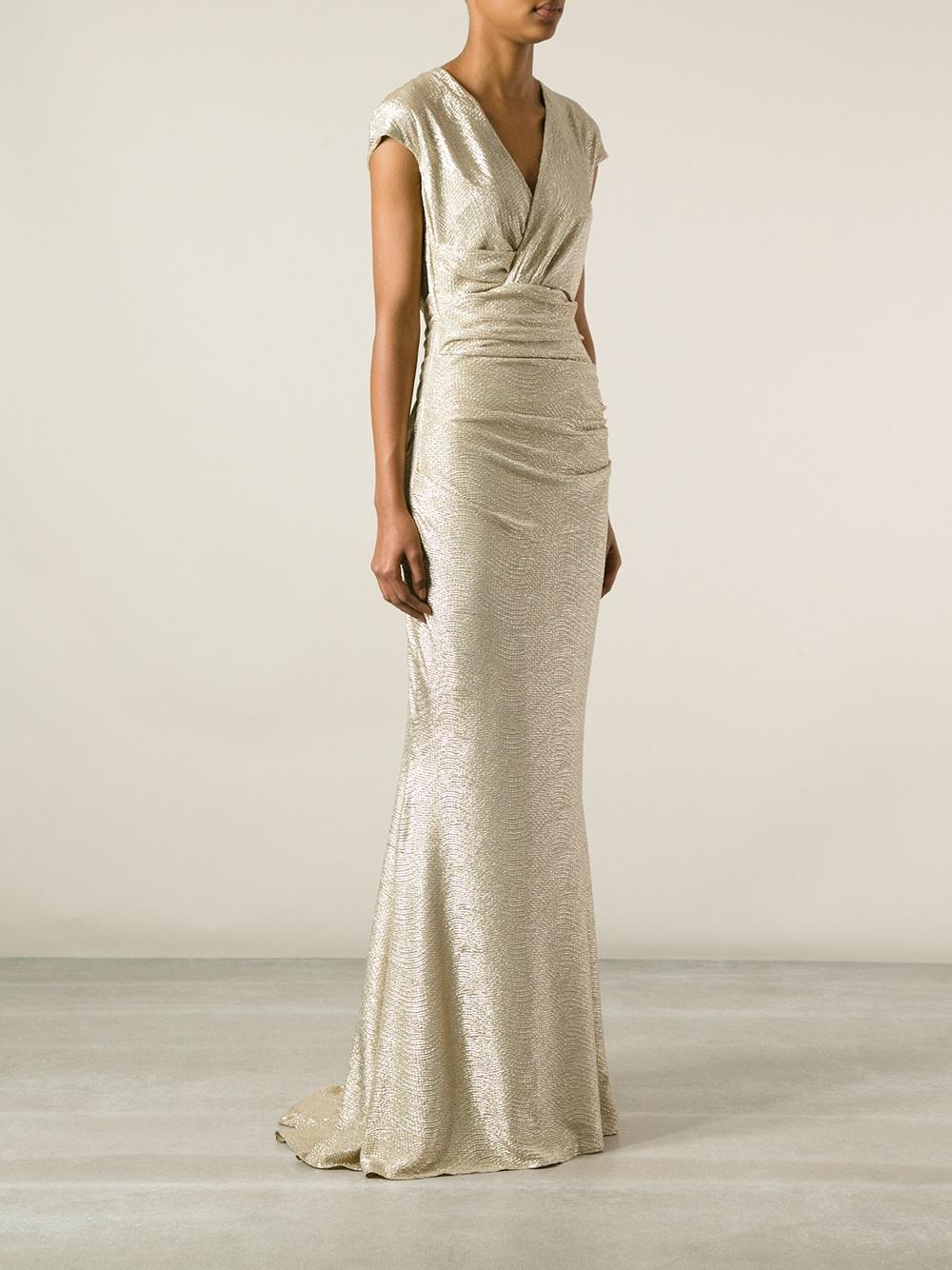 Lyst Talbot Runhof Doccia Evening Dress In Metallic