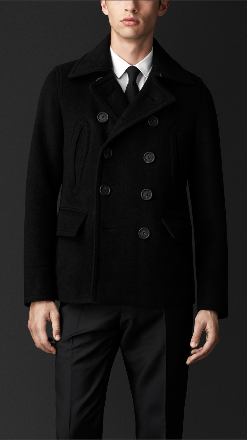 Burberry Cashmere Wool Pea Coat in Black for Men | Lyst