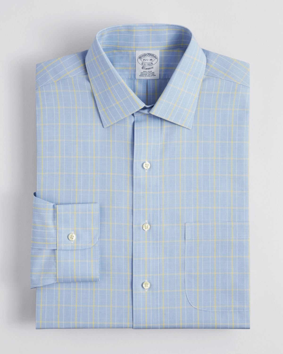 Brooks brothers glen plaid windowpane check dress shirt in for Blue check dress shirt