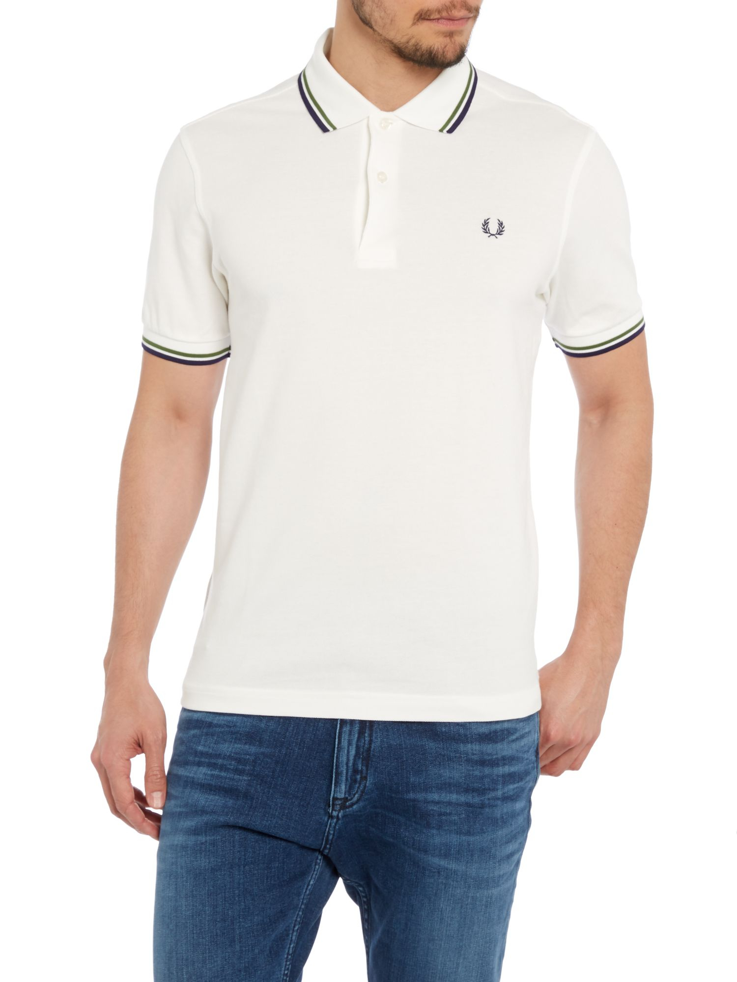 fred perry plain slim fit polo shirt in white for men off. Black Bedroom Furniture Sets. Home Design Ideas
