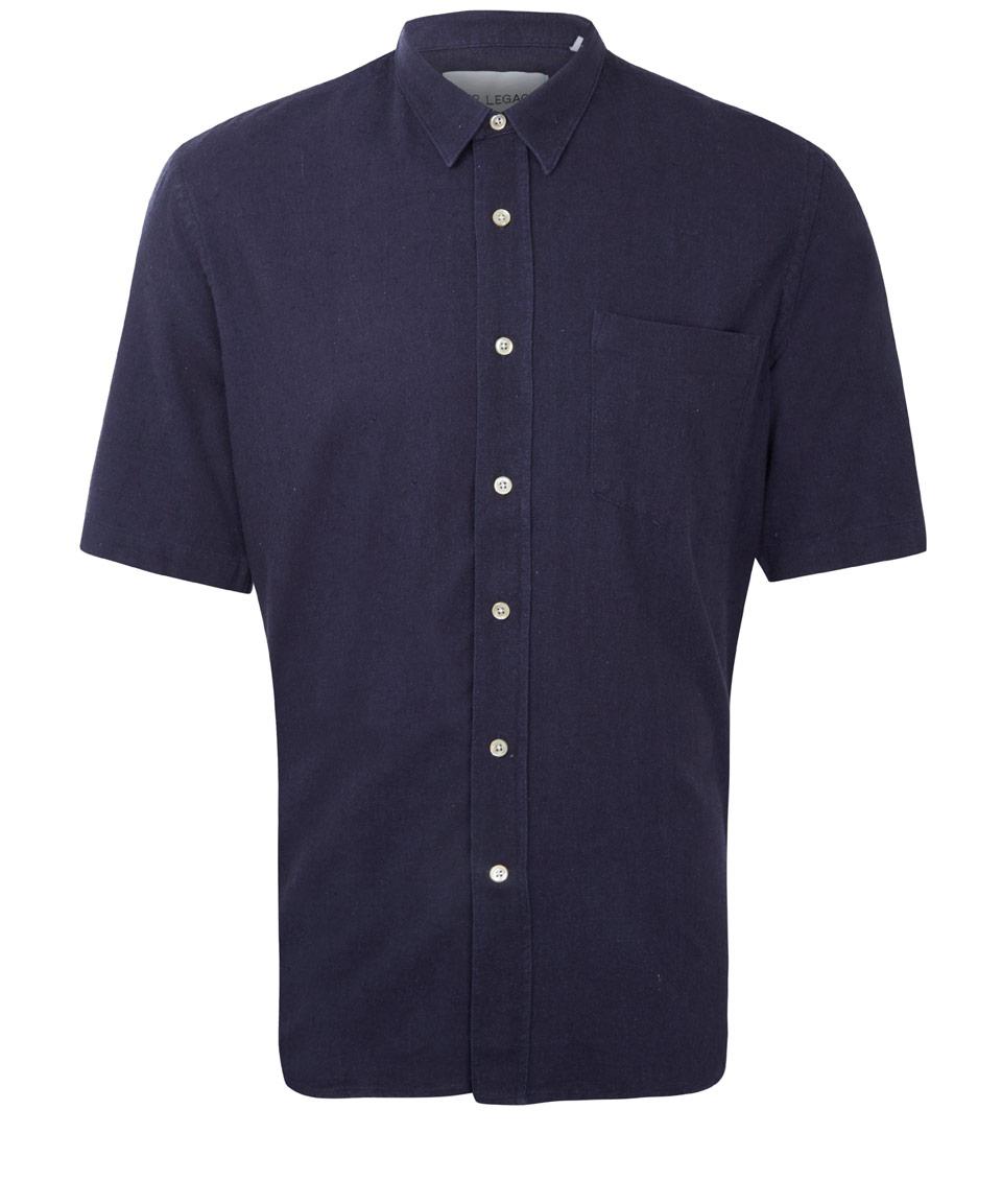 Lyst Our Legacy Navy Slub Silk Short Sleeve Shirt In
