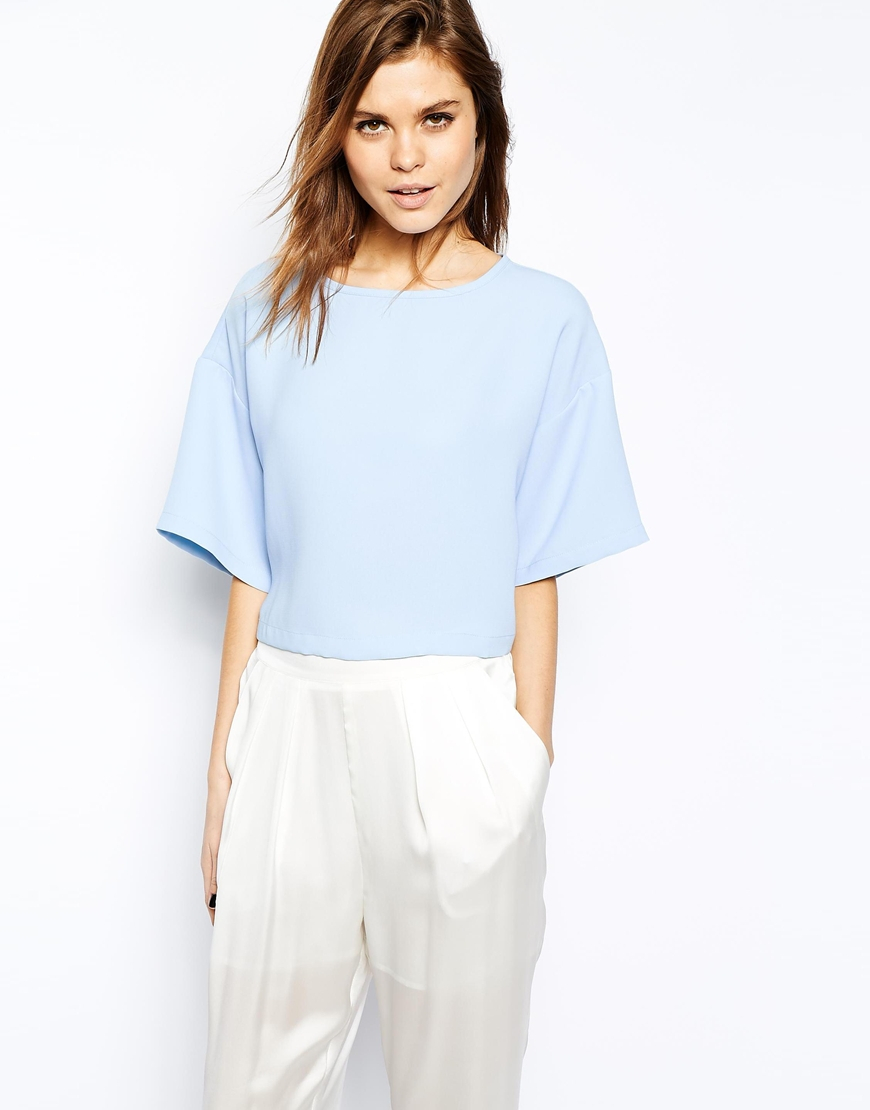 Lyst - Asos Crop Top With Boxy Kimono Sleeve in Blue